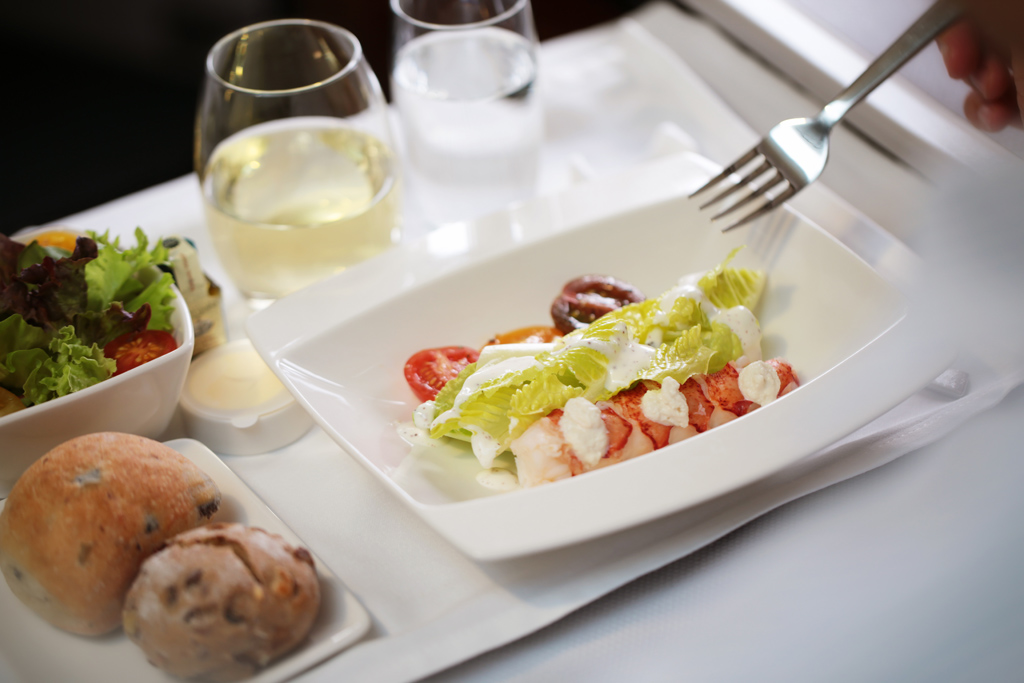 Lobster, almonds, romaine and pink pepper dressing