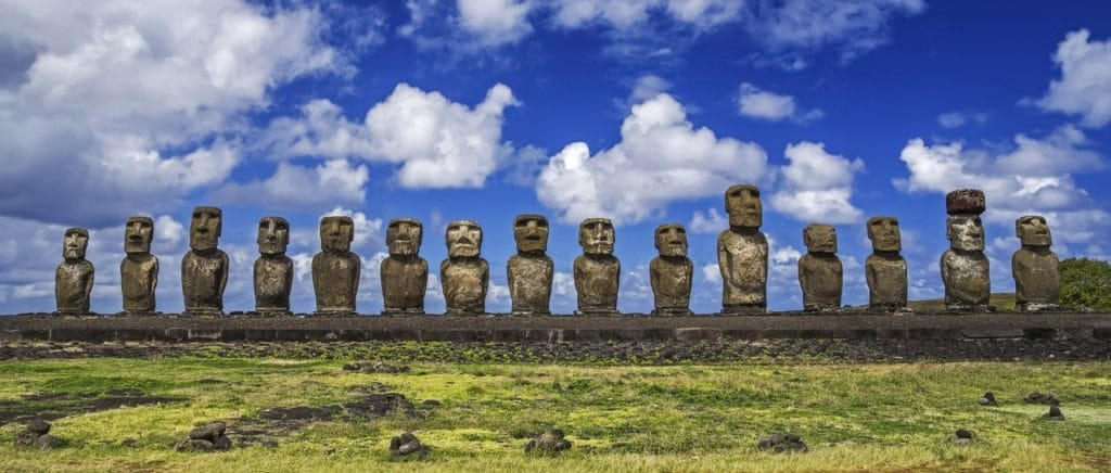 Statues overlooking Easter Island