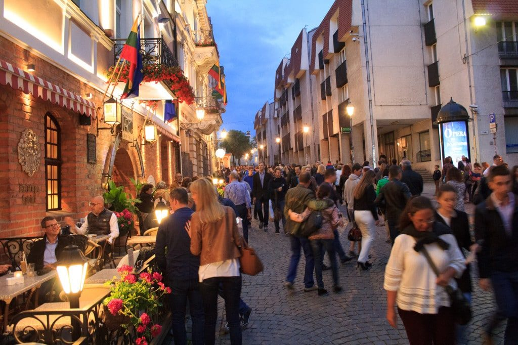 Vilnius Pilies street at night. Culture Night